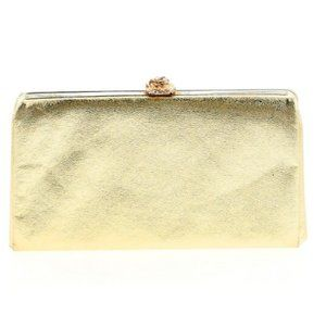 Gold Metallic Clutch with Rose Clasp